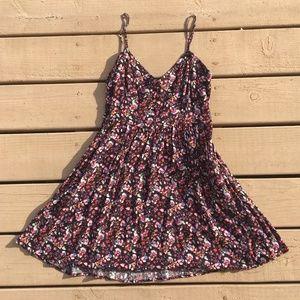 Express Black Multi-Color Floral Print Mini Dress
